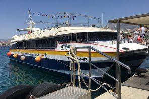 Catamarán en el que visitamos la isla de Benidorm